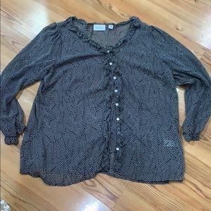 Avenue sheer black white blouse Size 18 20
